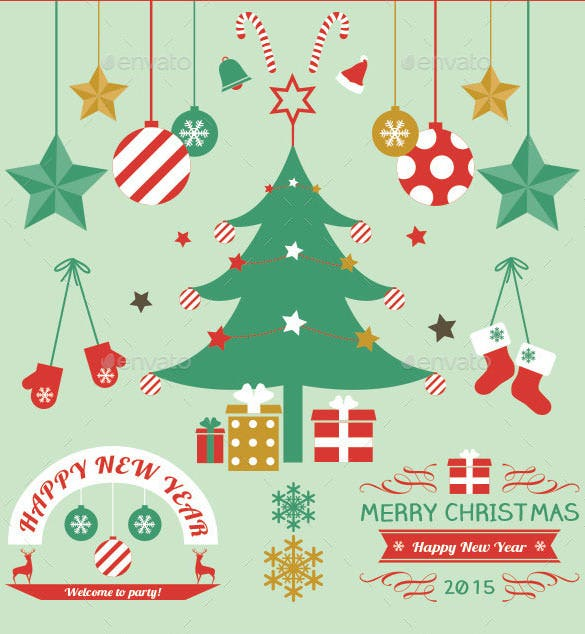 christmas labels and elements set illustrator format