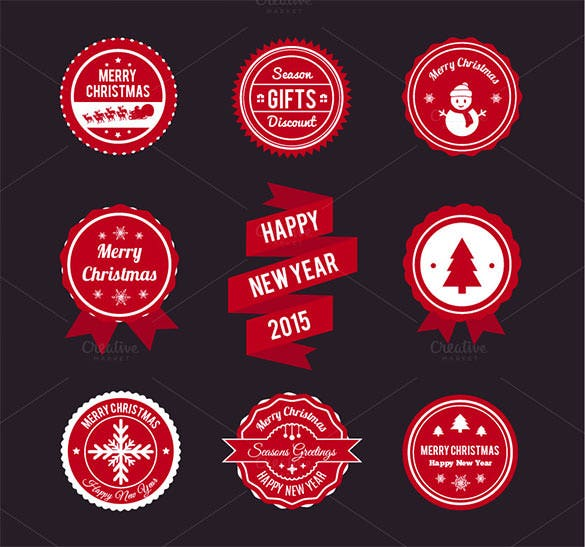 9 christmas labels and ribbons set ai download