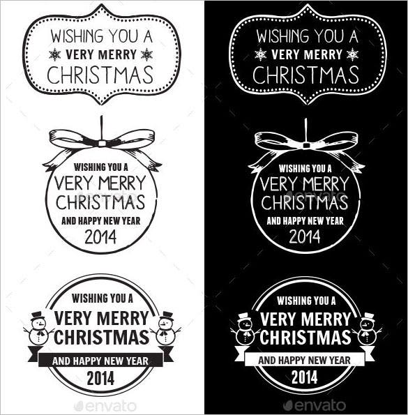 9 merry christmas labels illustrator download