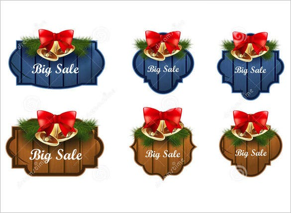 christmas labels vector bells illustration