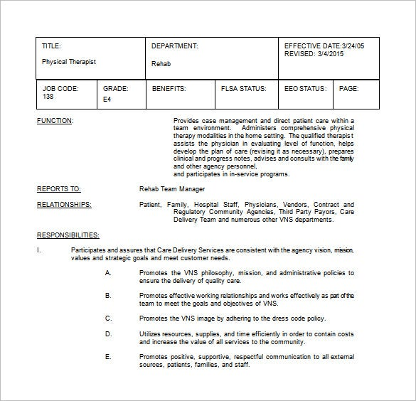 physical therapist job description word free template