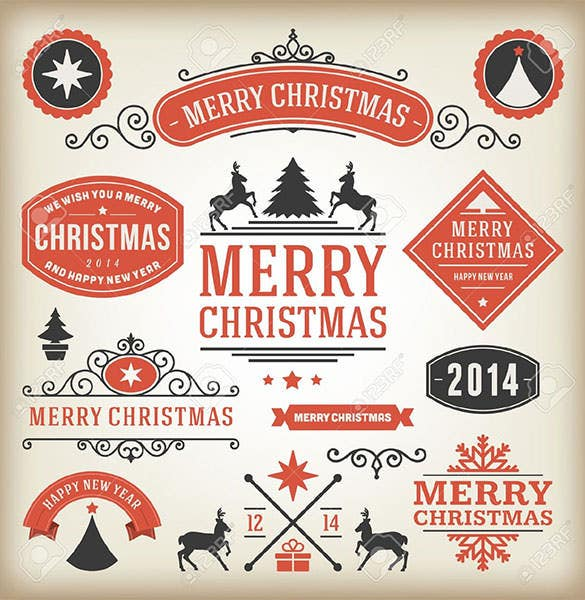 christmas decoration lable typographic elements download