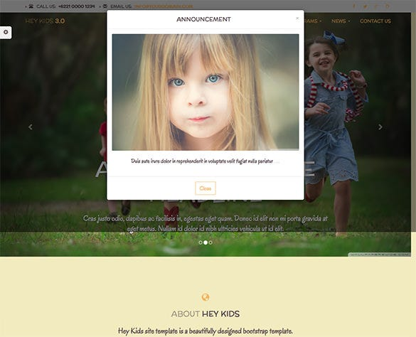 education website theme for kindergarden