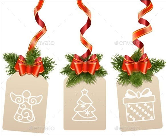 christmas label ribbon template eps vector download
