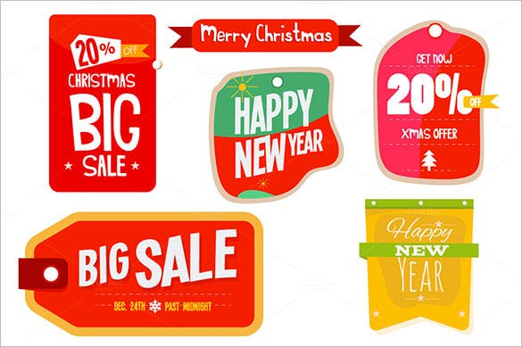 christmas new year labels template eps download