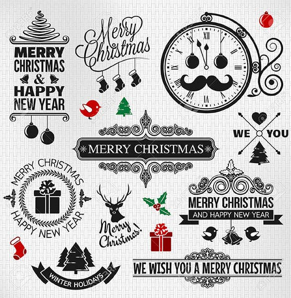 download christmas happy new year vintage orntae label