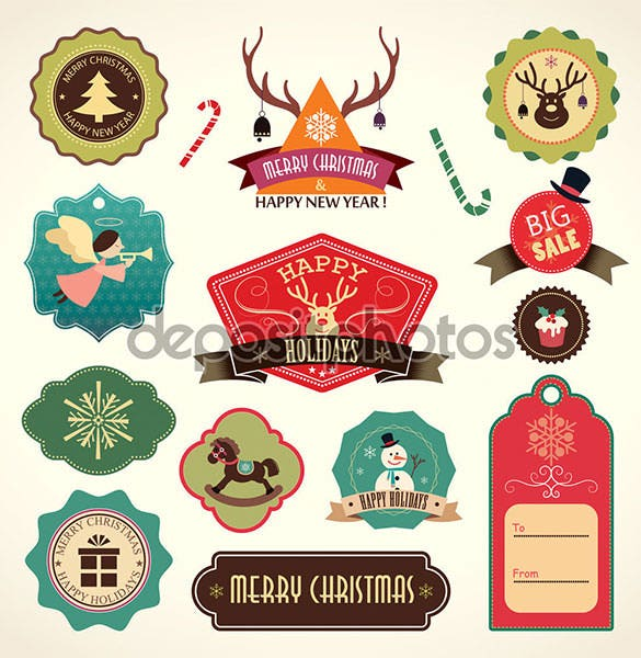 christmas label template vector eps format download