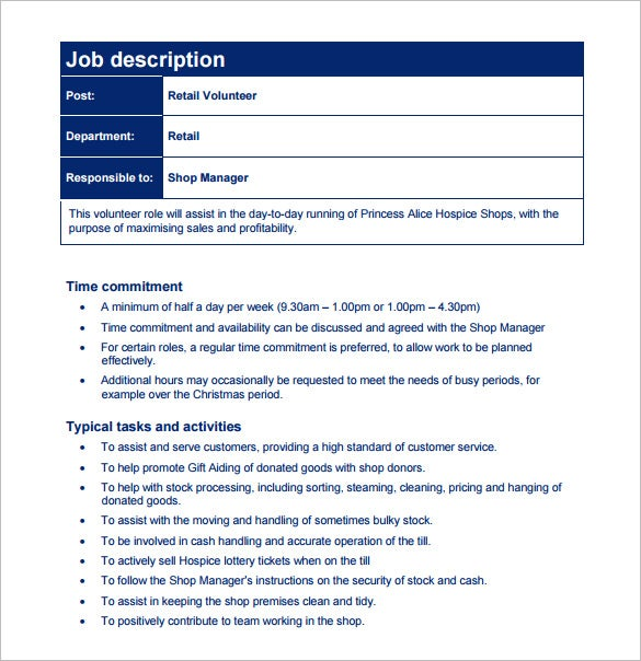 retail customer service job description free pdf template