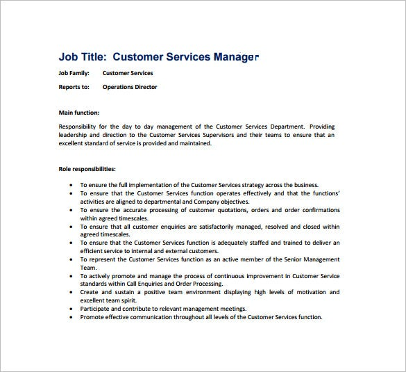 job description for customer service manager