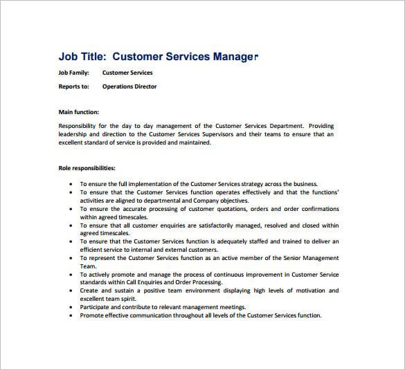 Service Manager Job Description – Customer Service Manager Job Description