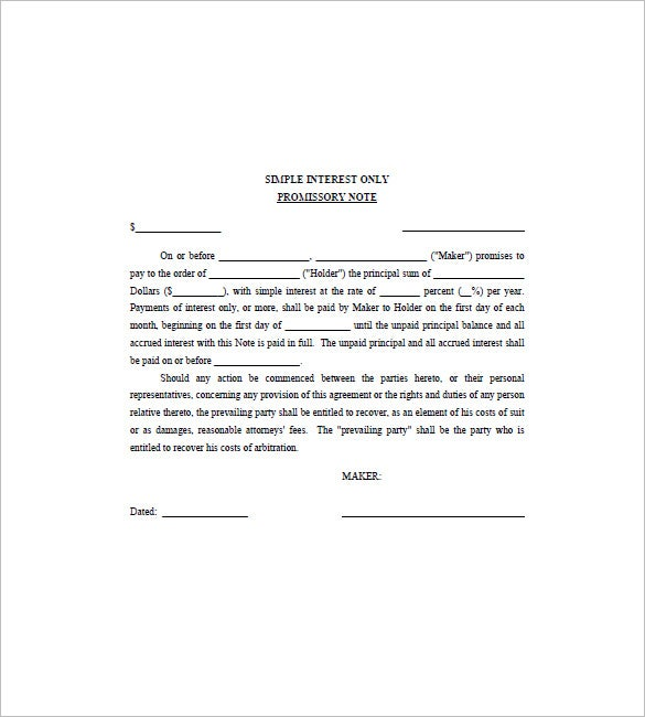 Note Template For Personal Loan Templates  Free Sample