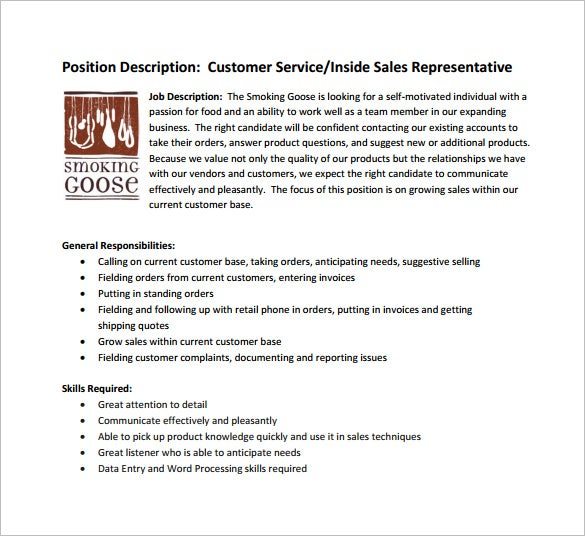 sales customer service job description free pdf template