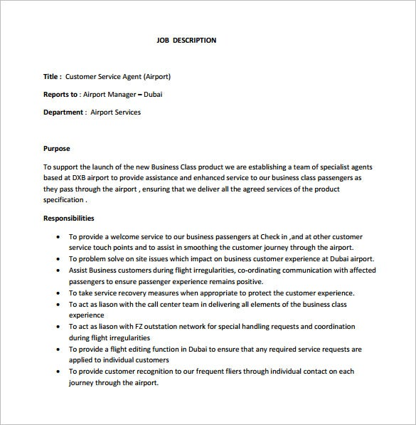 Customer Service Job Description Template   Free Word Pdf