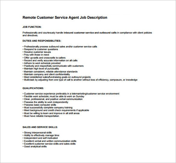 remote customer service agent job description free pdf