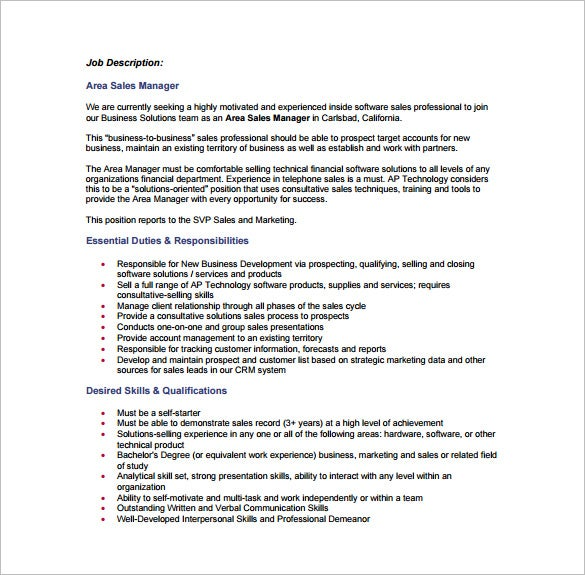 Software Sales Manager Job Description  Template