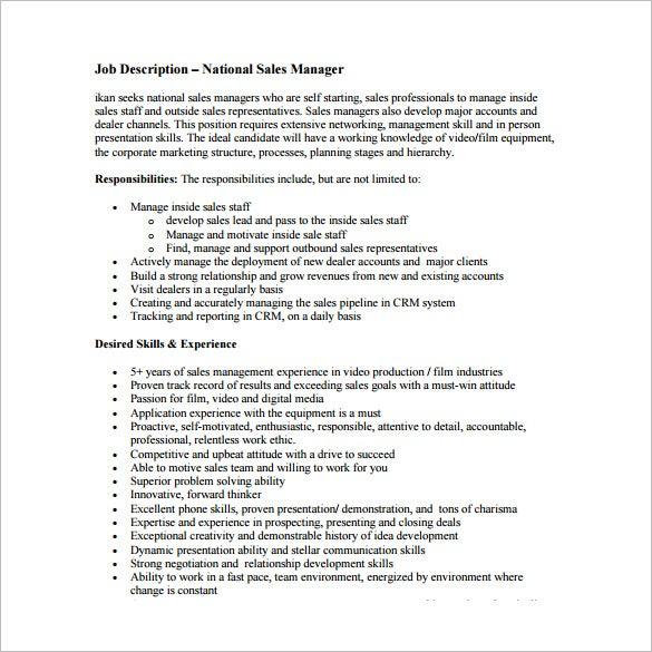 national sales manager job description free pdf template