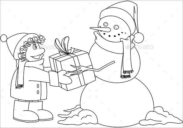 christmas snowman gives present coloring page eps download