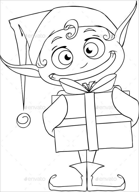 christmas elf holding a present coloring page vector eps
