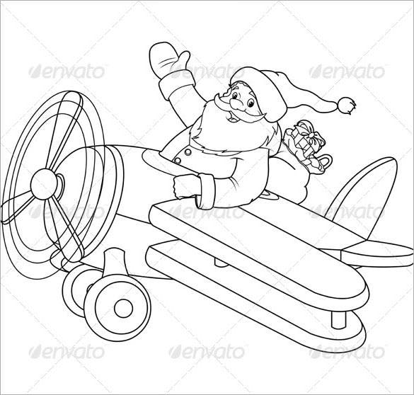 santa on a plane coloring page vector eps