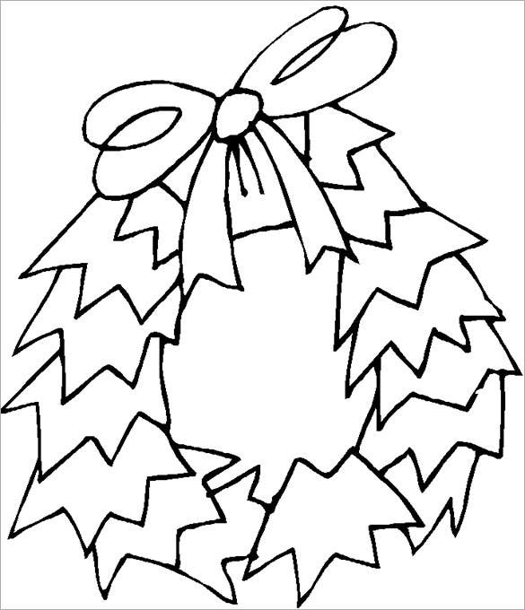 christmas wreath coloring page download