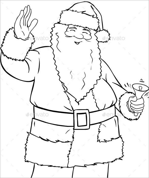 santa claus holding bell coloring eps format