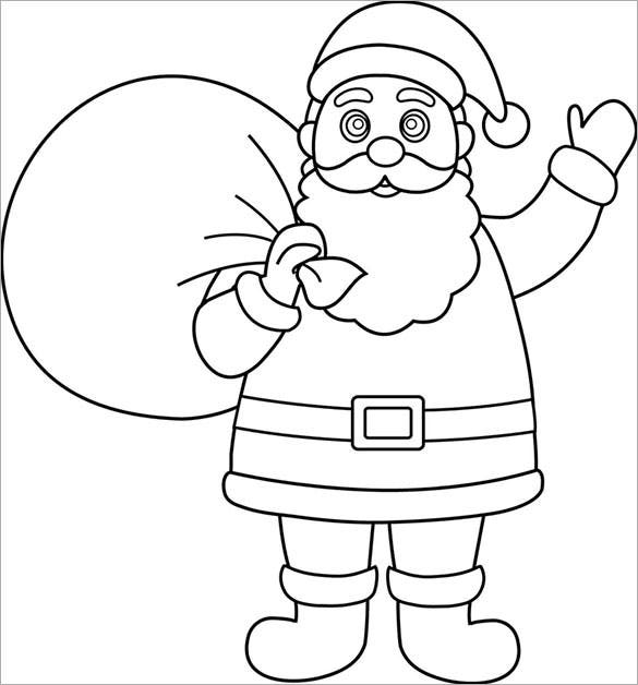 santa with gifts template coloring page download
