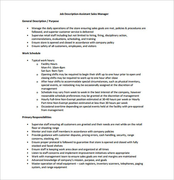 assistant sales manager job description free pdf template