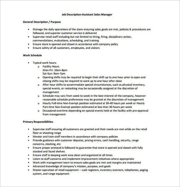 Sales Assistant Job Description Samples