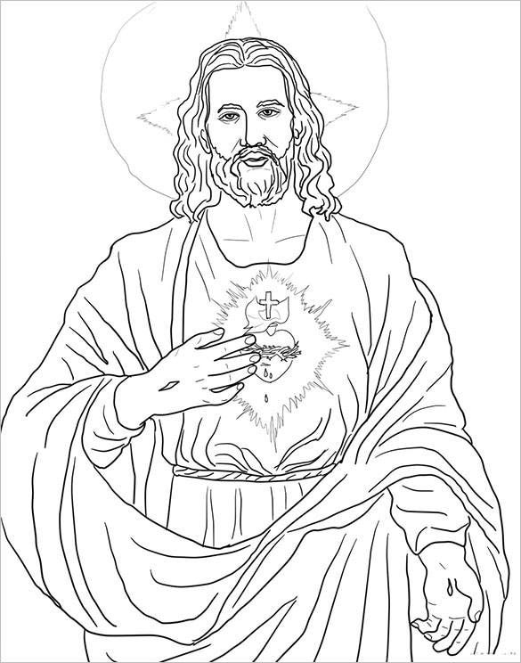 sacred heart coloring page template