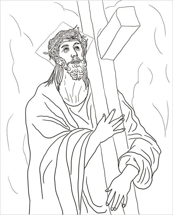 download jesus carries his cross coloring page