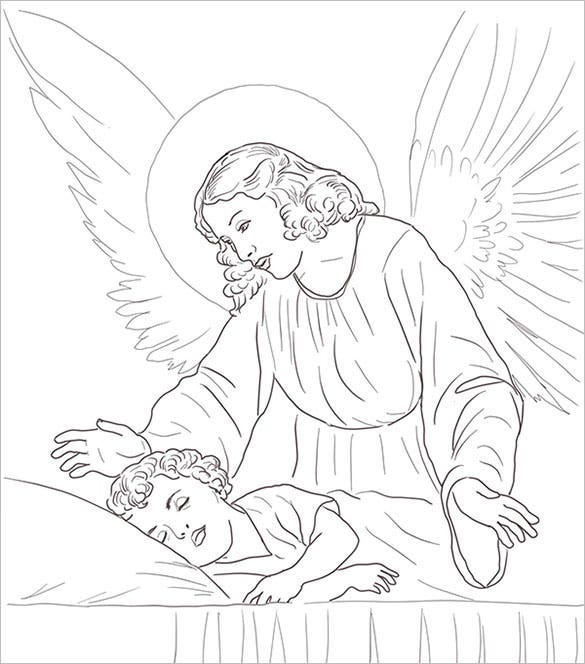 guardian angel over sleeping child coloring page download