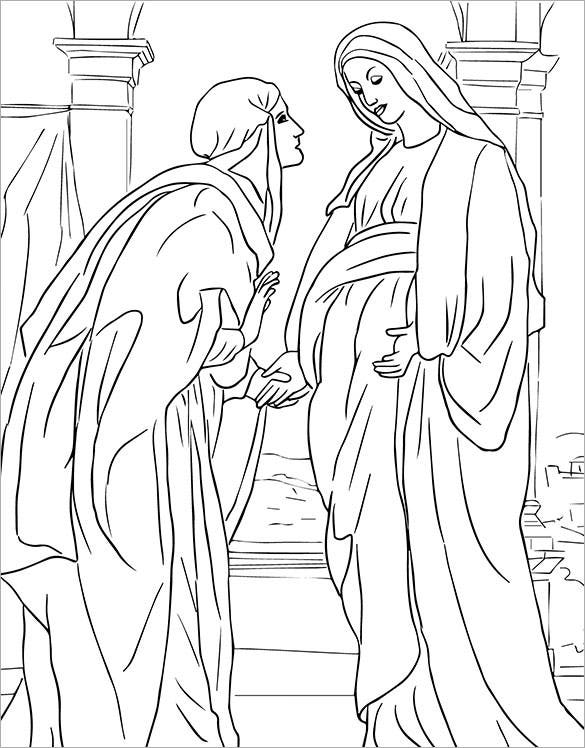 download visitation of mary to elizabeth coloring page
