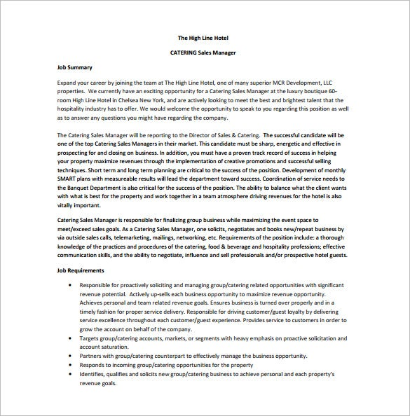 catering sales manager job description free pdf template
