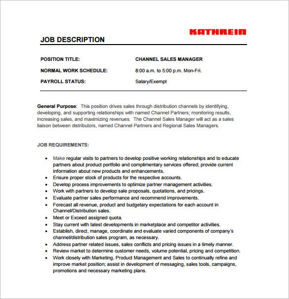 sales manager job description template 10 free word pdf format - It Sales Resume