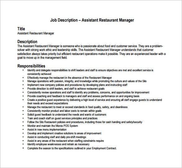 Assistant Restaurant Manager Job Description PDF Format Free Download