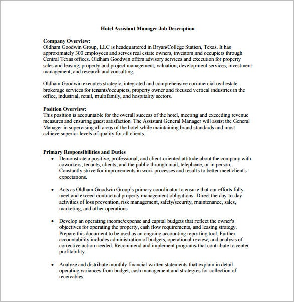 High Quality Free Hotel Assistant Manager Job Description PDF Format Download