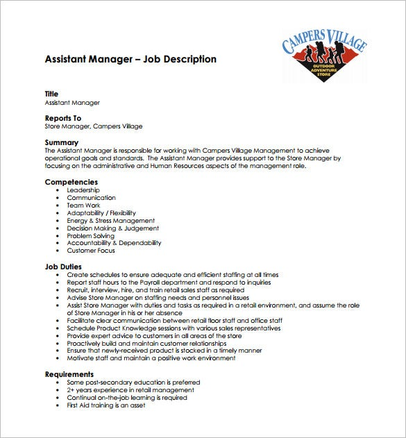 hr assistant manager job description free pdf template
