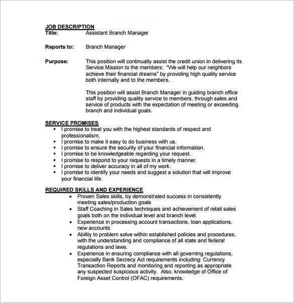 free assistant branch manager job description pdf download