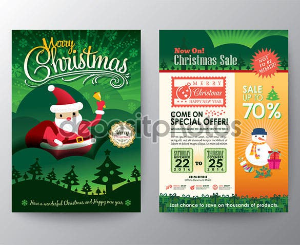 christmas sale brochure flyer design layout template