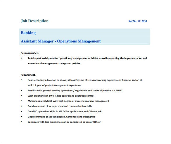 Bank Manager Job Description  CityEsporaCo