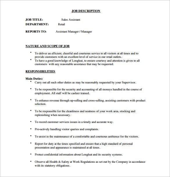 free sales assistant manager job description pdf template