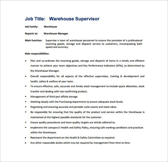 warehouse supervisor job description pdf free template