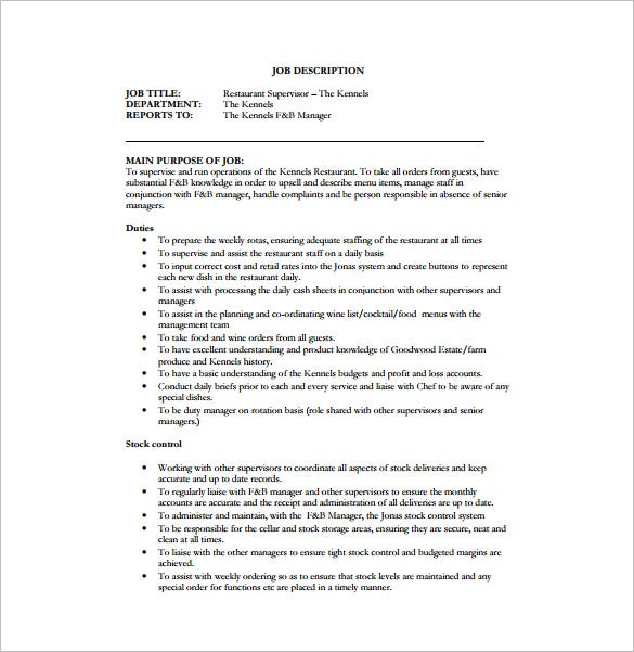 supervisor job description for restaurant free pdf download