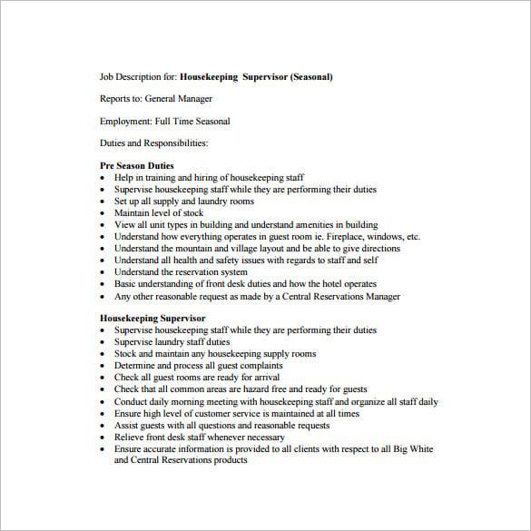 Housekeeper Job Duties rockcuptk – Housekeeping Job Description