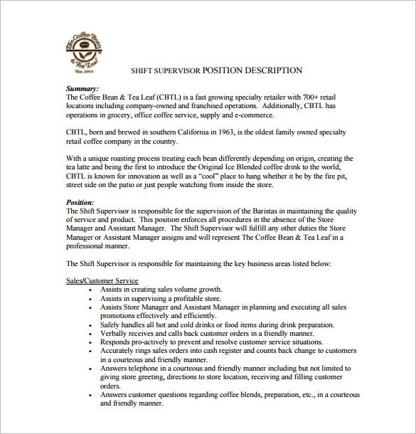 shift supervisor job description pdf free download