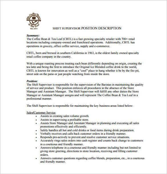 Shift Leader Job Description Samples