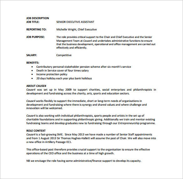senior executive assistant job description free pdf template
