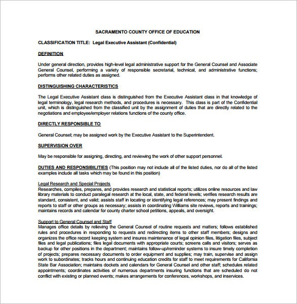legal executive assistant job description pdf free download