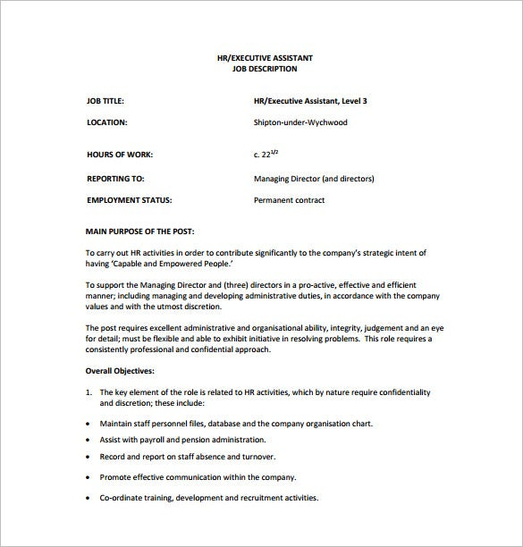 Executive Assistant Job Description For HR Free PDF Download
