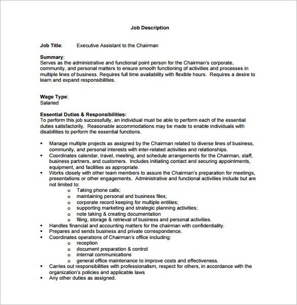Nice Executive Assistant To Chairman Job Description Free PDF